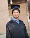 Male Student In Graduation Gown And Mortar Board Stock Photography