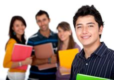 Male student with a group Royalty Free Stock Image