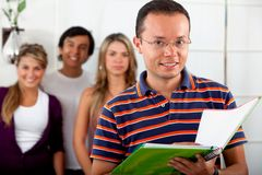 Male student with a group Stock Photography
