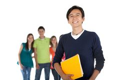 Male student with a group Royalty Free Stock Photos