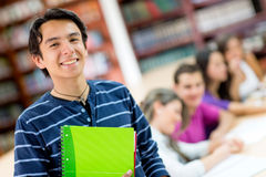 Male student with a group Stock Photo