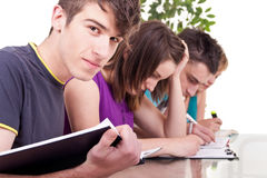 Male student  with his classmates. Portrait of a young male student studying with his classmates Royalty Free Stock Image