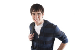 Male Student holding bookbag Royalty Free Stock Images
