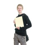 Male student holding some notebooks. Isolated over a white background Royalty Free Stock Photos