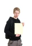 Male student holding some notebooks. Isolated over a white background Stock Photography