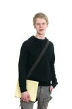 Male student holding some notebooks Royalty Free Stock Images