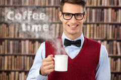 Male student with hot coffee Stock Photography