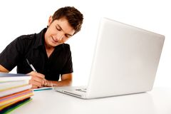 Male student with laptop Royalty Free Stock Images