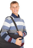 Male student with laptop bag Stock Photo