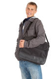 Male student with laptop bag Stock Images