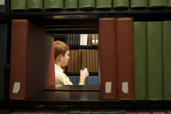 Male student in the library Stock Photos