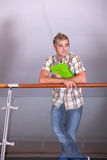 Male Student in library. Portrait of male student in library Stock Photography