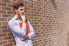 Male student making serious decision Stock Photos