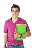 Male student with notebooks Stock Photo