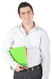 Male student with notebooks Royalty Free Stock Photo