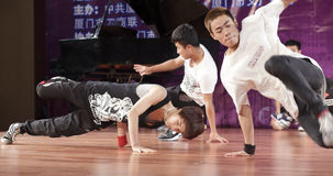 Male student perform street dance. Male students of nanyang institute show hip-hop dance, amoy city, china Stock Photos