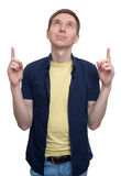 Male student points his finger up. Isolated on white background Royalty Free Stock Photos