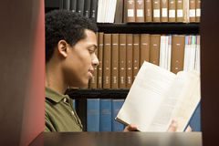 Male student reading in the library Royalty Free Stock Image