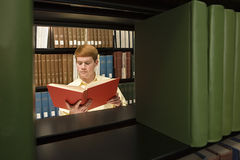 Male student reading in the library Royalty Free Stock Images