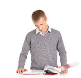 Male student with red file binder Royalty Free Stock Image