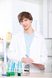 Student in a science lab. Male student in a science lab Royalty Free Stock Photography