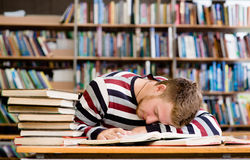 Male student sleeping in library.  Stock Photography