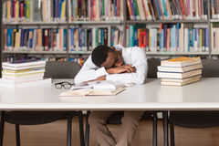 Male Student Sleeping In Library. Sleeping African Student Sitting And Leaning On Pile Of Books In College - Shallow Depth Of Field Royalty Free Stock Photography