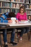 Male Student Sleeping In Library. Sleeping Student Sitting And Leaning On Pile Of Books In College - Shallow Depth Of Field Stock Photography