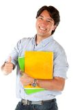 Male student with thumb up Royalty Free Stock Photo