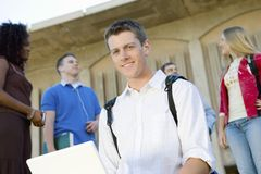Male Student Using Laptop Royalty Free Stock Images