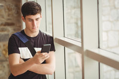Male student using mobile phone in college. Male student using mobile phone while leaning on window in college Royalty Free Stock Images
