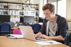 Male Student Working At Laptop In College Library Stock Photography