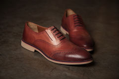 Male style shoes. Brown men`s shoes, male style Stock Photo