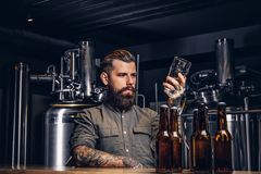 Male with stylish beard and hair holds pint of craft beer sitting at the bar counter in the indie brewery. stock photos