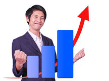 Male is successful arrow up graph. On white background Royalty Free Stock Images