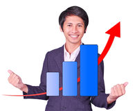 Male is successful arrow up graph. On white background Royalty Free Stock Image