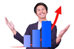 Male is successful arrow up graph. On white background Stock Photo