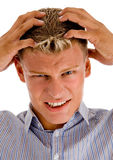 Male suffering from headache Royalty Free Stock Image