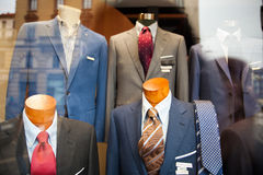 Male suit in the clothes shop. Close up of male suit exposed in the clothes shop Stock Photography