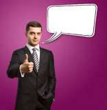 Male in suit with crossed hands and thought bubble Stock Images