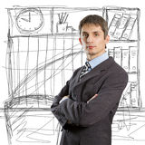 Male in suit with folded hands Stock Photos