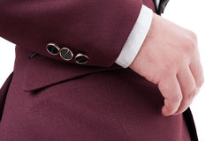 Male suit jacket sleeve with three expensive elegant buttons Stock Image