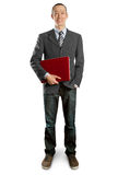 Male in suit with laptop in his hands Stock Image