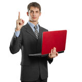 Male in suit with laptop with idea Stock Photography