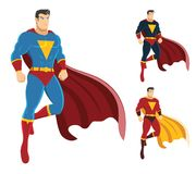 Male superhero hovering in the air. On the right are 2 additional versions. No gradients used. High resolution JPG, PNG transparent background and AI files are Royalty Free Stock Photography