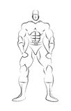 Male Superhero Line Drawing Template. Isoalted on a white background royalty free illustration