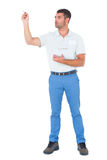 Male supervisor with clipboard inspecting on white background. Full length of male supervisor with clipboard inspecting on white background Stock Photography