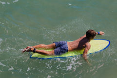 Male Surfboard Paddling Stock Photos