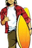 Male surfer dude carrying a surfboard. And showing a stoked hand symbol Royalty Free Stock Images