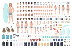 Male surfer or man on vacation creation set or DIY kit. Bundle of body parts, summer clothes, travel equipment isolated. On white background. Colorful vector stock illustration